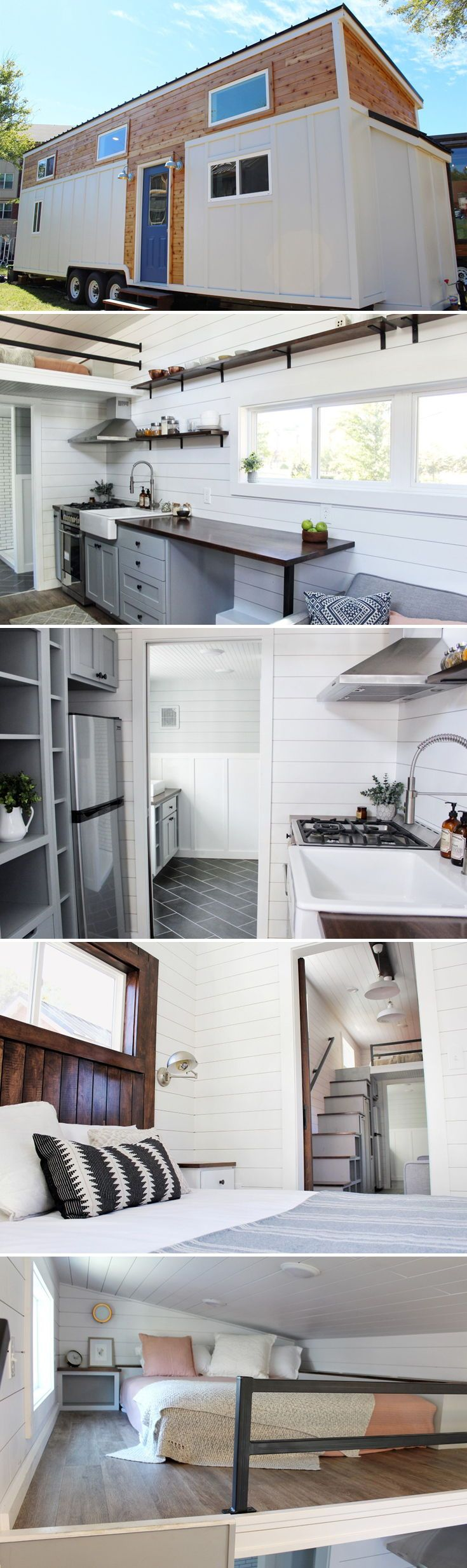 "This gorgeous modern tiny house is the ""Everest"" by Mustard Seed Tiny Homes. The 34-foot tiny home features a ground floor master bedroom with vaulted ceilings, full size bed, storage drawers under the bed, and a large closet."