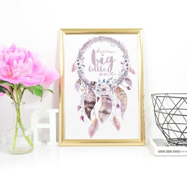 Boho Dream Big Little One, Dreamcatcher, Inspirational Quote, Printable Artwork, Nursery Decor, Instant Download, Purple, Pink, A4, Boho by InkBoutiqueDesign on Etsy