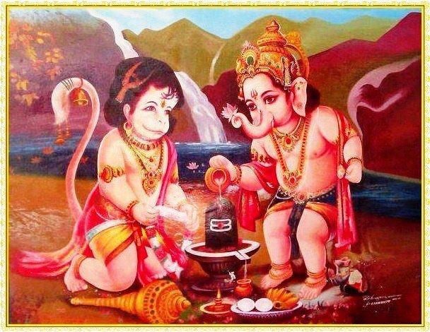 Bala Ganesh and Hanuman