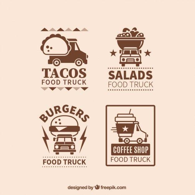 Vintage food truck logos Free Vector