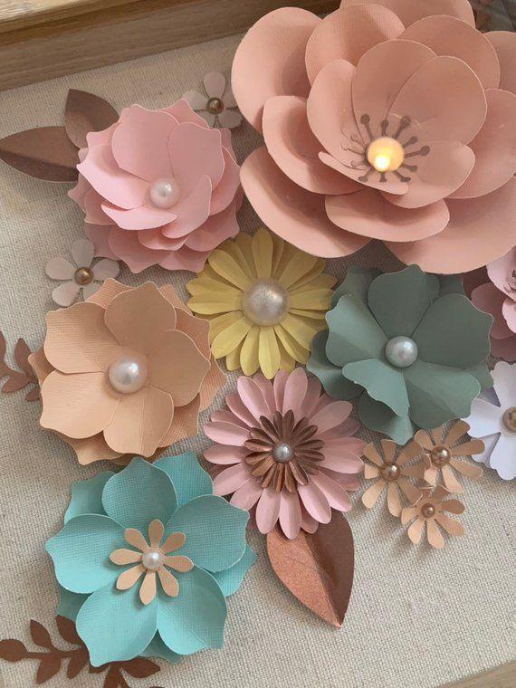 Shadow Boxes Paper Flowers, Paper Flowers, Nursing Decor, shower favors, wedding favors, shadow boxes decoration frame – Products