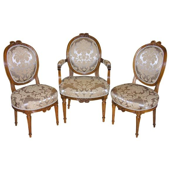 French Louis XVI Fauteuil U0026 Pair Side Chairs