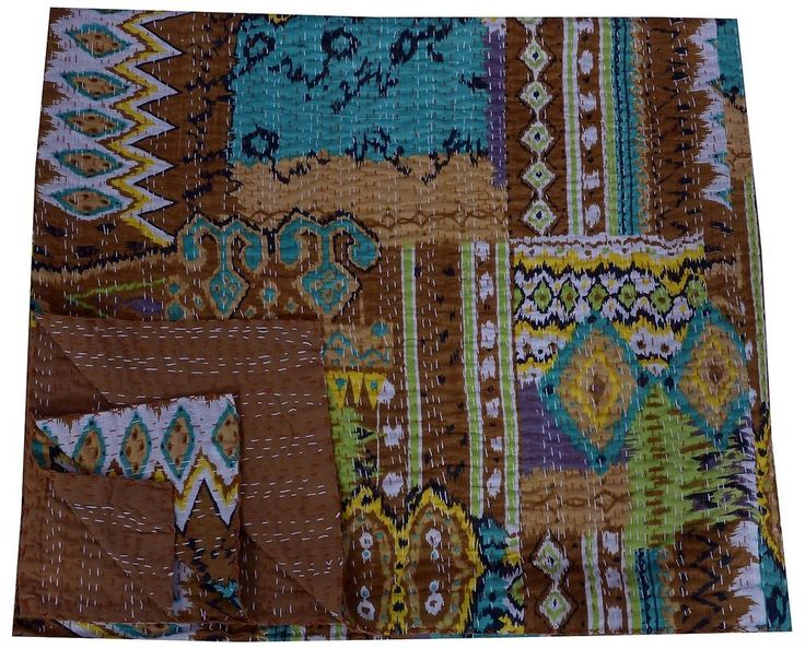 Paisley Kantha Quilt Queen Size Reversible Throw Brown Bed Cover Handmade Indian #Handmade #100Cotton