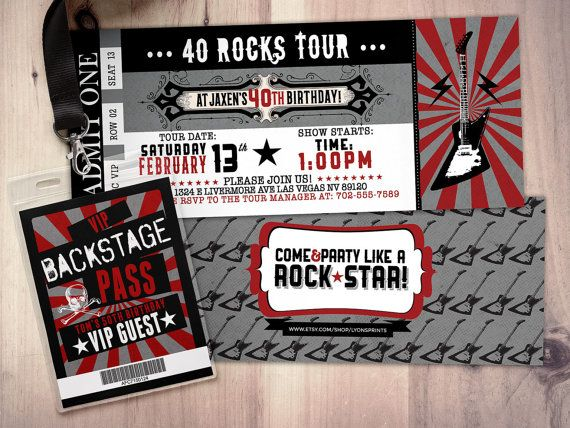 ROCK STAR concert ticket birthday party invitation by LyonsPrints