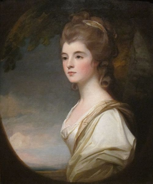 "The beautiful Elizabeth, Duchess-Countess of Sutherland (oil on canvas painting by George Romney, 1782). According to Wellesley, she was the ""great ornament"" of Pitt's society. Source: The Croker Papers, volume 2, pg. 295 (from a letter written by Wellesley)."