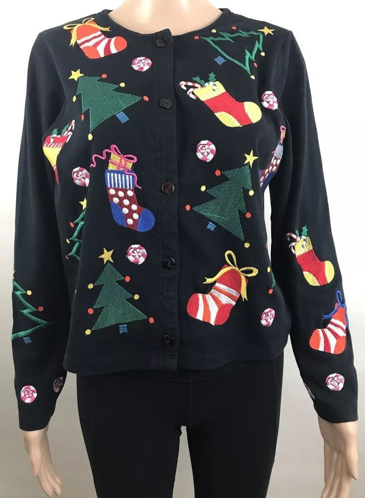 MICHAEL SIMON LITE Women's ugly Christmas cardigan sweater size small ornaments #MichaelSimonLite #Cardigan #Christmas #uglysweater #holiday #ornaments #ebay #deals #shopping #womensfashion