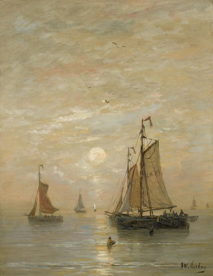 Anchored Bomschuiten at Sunset, Hendrik Willem Mesdag