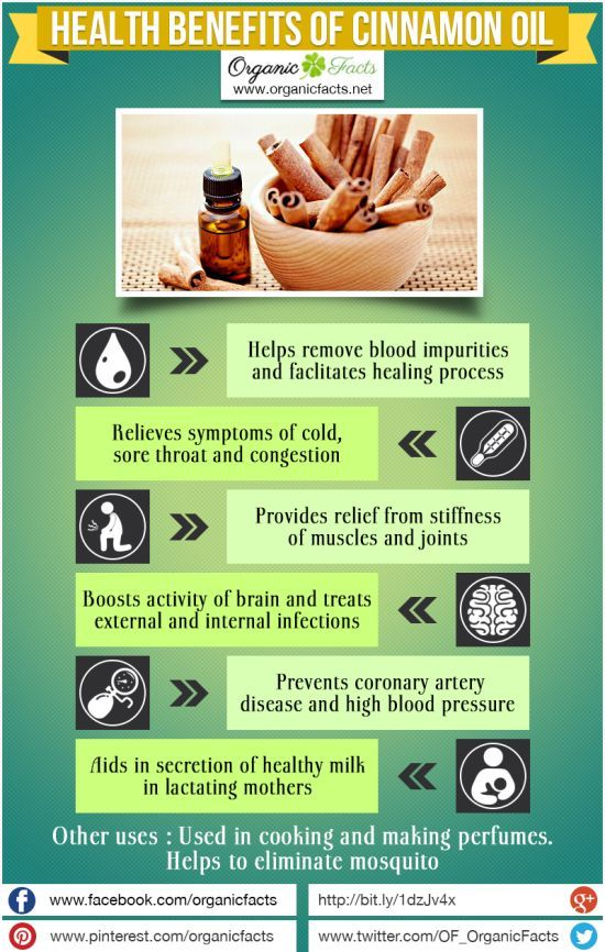 Health Benefits of Cinnamon Oil | Organic Facts: Cinnamon Oil is used for the treatment of a variety of health disorders including respiratory problems, skin infections, blood impurity, menstrual problems, and various heart disorders.