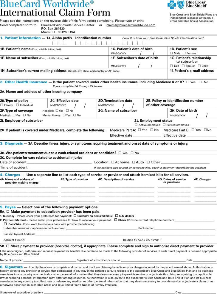 Blue cross blue shield international medical claim form