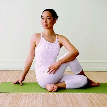 Seated Twist  Stretches shoulders, hips, and back; increases circulation; tones abdomen; strengthens obliques      Sit on the floor with your legs extended.      Cross right foot over outside of left thigh; bend left knee. Keep right knee pointed toward ceiling.      Place left elbow to the outside of right knee and right hand on the floor behind you.      Twist right as far as you can, moving from your abdomen; keep both sides of your butt on the floor. Stay for 1 minute.