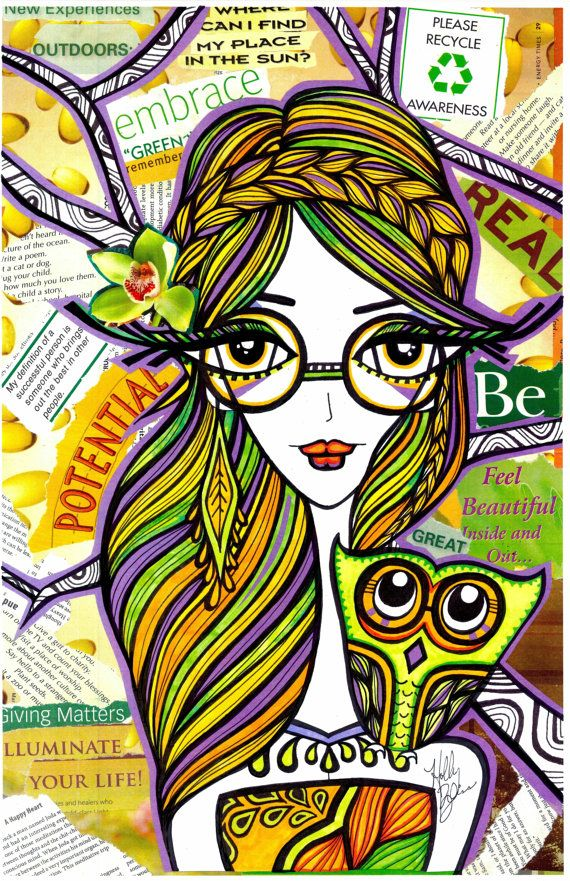 Positive Girls with Owls Art Decor Collection by HollyBlissArt, $15.00