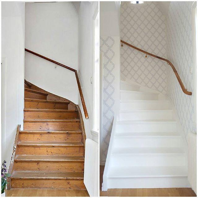 Före & efter! Nu är hallen och trappan äntligen klar!! Dags att sätta igång i trädgården. #ellenbo #ledstång #dalaledstångsfabrik #sandbergwallpaper #trappa