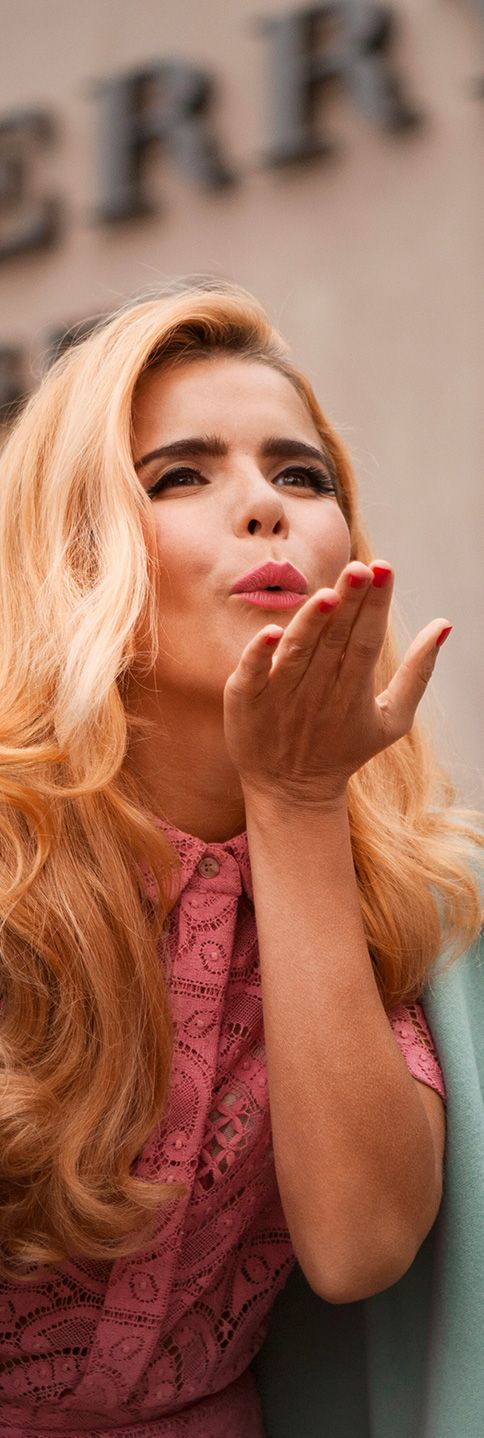 A Burberry kiss from British musician Paloma Faith at the Menswear A/W14 show space