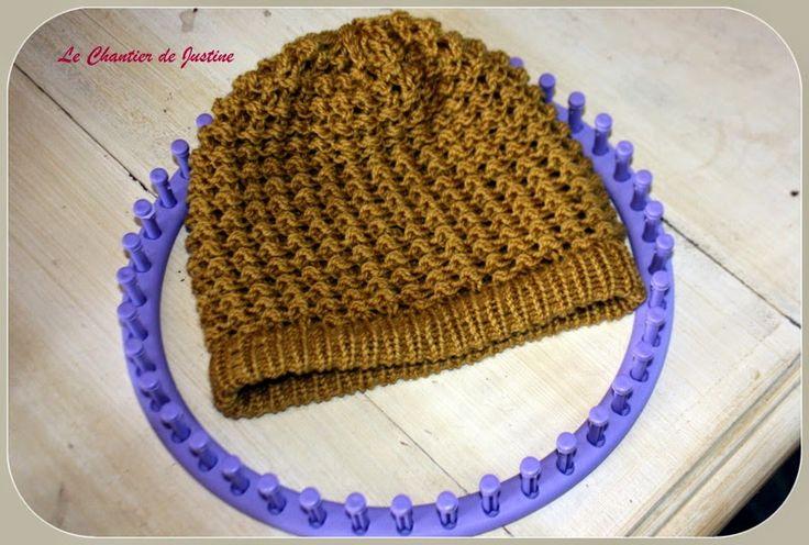 bonnet pour homme tricotin g ant ou knitting loom. Black Bedroom Furniture Sets. Home Design Ideas