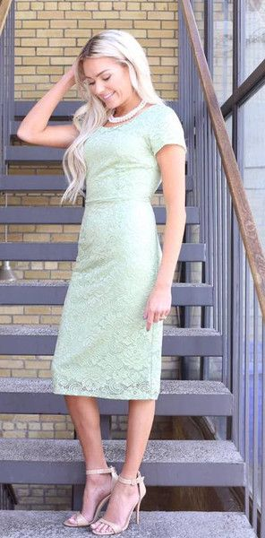 The April is an exquisite floral lace dress. The dress comes in a sage lace and has a round neck with cap sleeves. It is fully lined. Pair with any color belt to give your outfit an accent of color #sierrabrookeclothing  Sage Dress/ Sage Bridesmaid Dresses/ Modest Dresses/ Lace Dresses