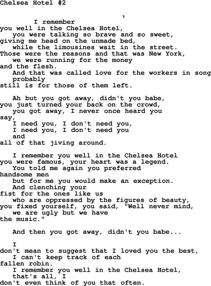 Chelsea Hotel #2 Leonard Cohen