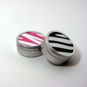 Zebra Print Favor or Storage Tins