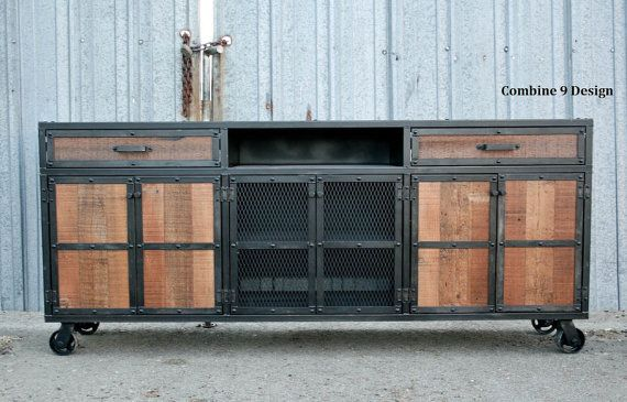Rustic Credenza. Steel and Reclaimed Wood Media Console.