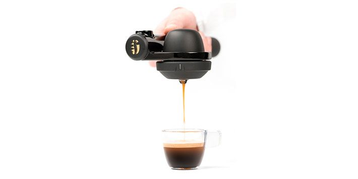 Handpresso // Satisfy your caffeine cravings anywhere, anytime. This portable espresso maker uses 16-bar pressure to produce a coffee shop-like beverage.