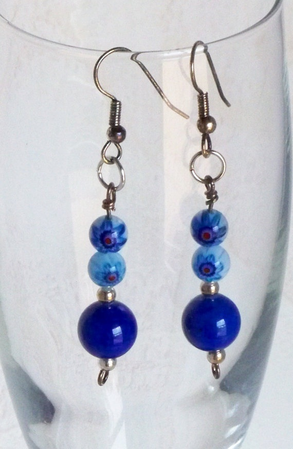 Peacock Blue Beaded Earrings by ArKaysCreations on Etsy, $15.00