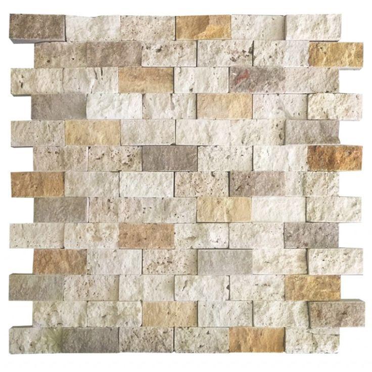 Mix Traverten 2.5X5 Fileli Patlatma Taş    www.tasdekorcum.com #dekor #patlatmatas #mozaik #dogaltas#naturalstonemosaic #naturalstone  Natural Stone Mosaic Natural Stone Wall Natural Stone Mosaic Subway Wall Tile Fileli Patlatma Taş Doğal Taş Patlatma Mozaik