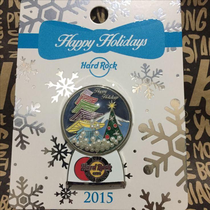 """Hard Rock Pin Japan Uyeno Eki Tokyo 2015 Holiday Snowglobes """"Winter"""""""