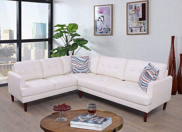 F5007b 2 Pc Luss White Faux Leather Sectional Sofa With Throw Pillows With Images Sectional Sofa Leather Sectional Sofa Faux Leather Sectional