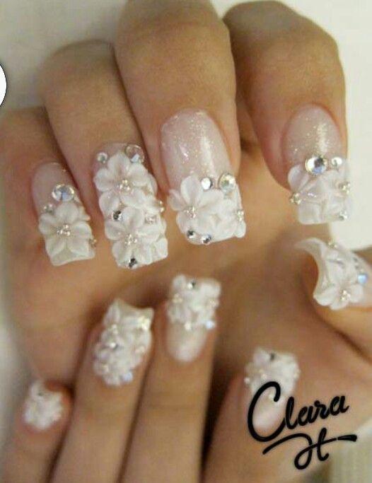 3D flower wedding nails