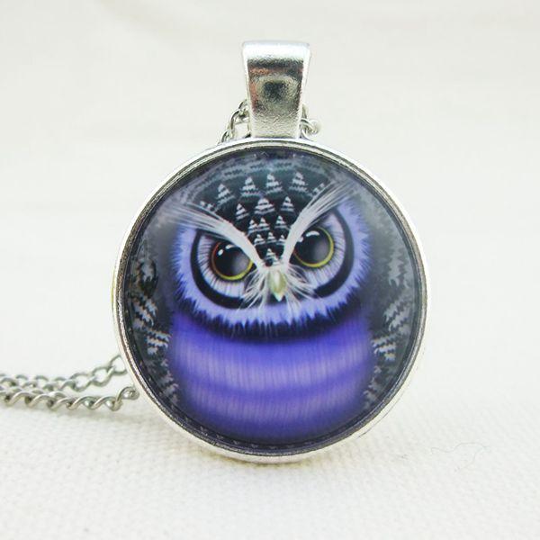 Owl Glass Cabochon Pendant Necklace