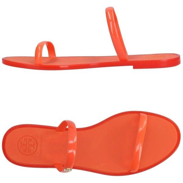 Tory Burch Sandals ($94) ❤ liked on Polyvore featuring shoes, sandals, orange, orange flat sandals, rubber shoes, flat footwear, rubber sole sandals and round toe shoes
