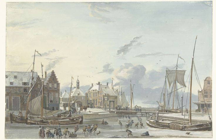 Wintergezicht te Harlingen, Nicolaas Baur, 1777 - 1820