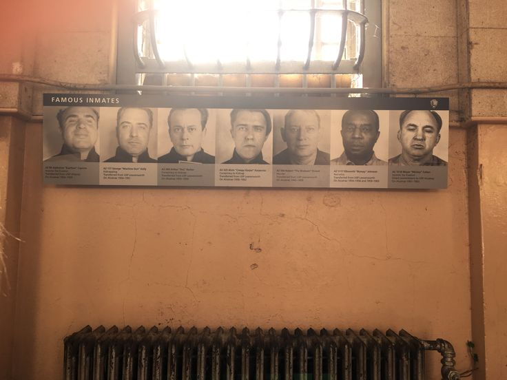 "Famous Inmates' Block - from left to right ; Alphonse ""Scarface"" Capone ( Income Tax Evasion,1934-1939 ), George ""Machine Gun"" Kelly ( Kidnapping,1934-1951 ), Arthur ""Doc"" Barker ( Conspiracy to Kidnap,1935-1939 ), Alvin ""Creepy Karpis"" Karpavicz ( Conspiracy to Kidnap, 1936-1962 ), Robert ""The Birdman"" Stroud ( Murder,1942-1959 ), Ellsworth ""Bumpy"" Johnson ( Narcotics,1954-1958 and 1959-1963), Meyer ""Mickey"" Cohen ( Income Tax Evasion,1961-1963 )"