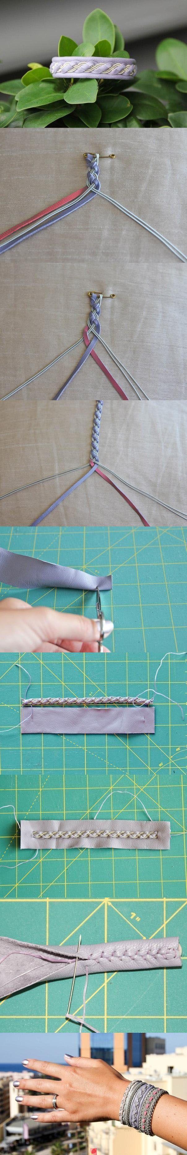 Geflochtenes Armband mit Leder und Bändchen