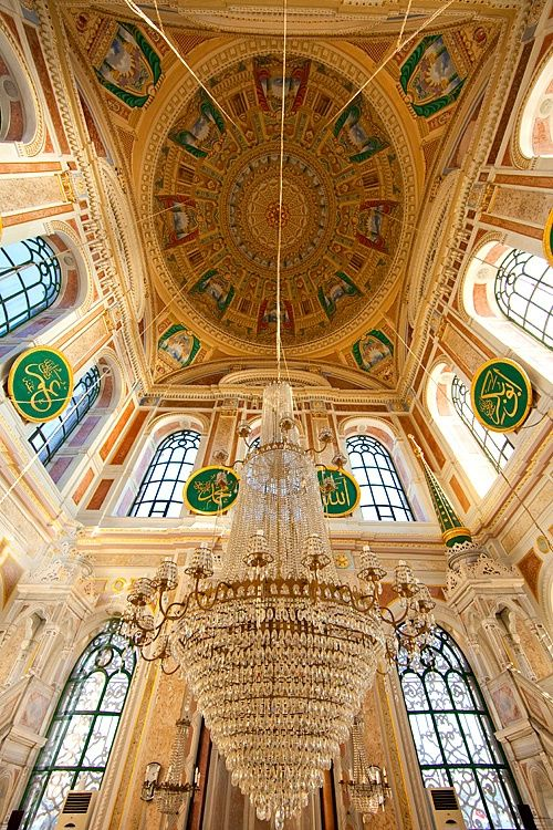 Interior of Mecidiye mosque, Ortakoy district, Istanbul