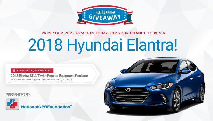 End Date: 03/31/2018; Eligibility: US Get certified today and you'll be entered in to #win a brand new 2018 Hyundai Elantra!