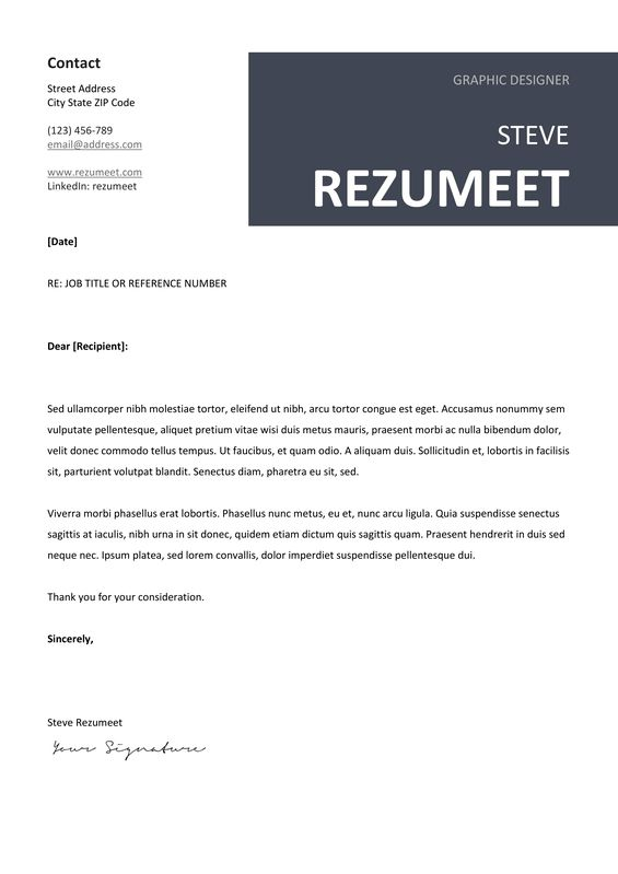 Peckham - Free Cover Letter Template - Gray