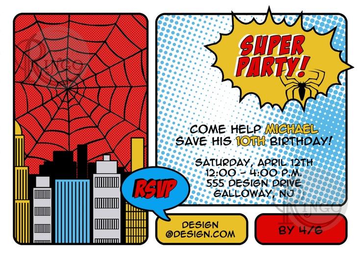 13 best homem aranha images on pinterest birthday invitations spiderman birthday party invitation by studioringo on etsy pronofoot35fo Gallery