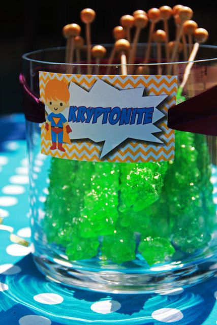 Green rock candy Kryptonite at a Super Heroes Birthday Party!  See more party ideas at CatchMyParty.com!