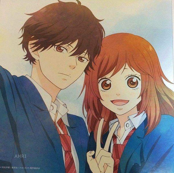 anime boy, anime girl, ao haru ride, aoharaido, colored, couple, cute couple, kawaii, kiss, love, manga, manga boy, shojo, yoshioka futaba, manga shojo, mabuchi kou, blue spring ride, tanaka kou, koutaba, anime, io sakisaka