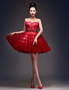 regresso a casa vestido de coquetel - vestido de baile Borgonha colher Short / Mini laço / tule