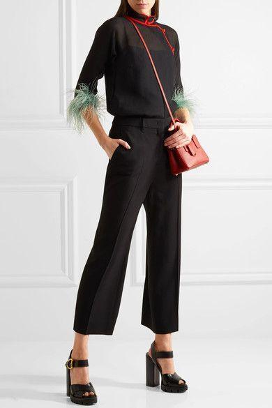 Prada - Feather-trimmed Silk-chiffon Blouse - Black - IT46