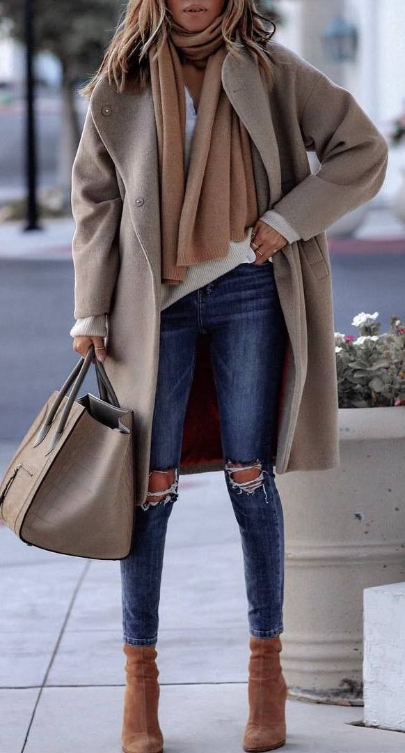 how to style a cashmere scarf : top + nude coat + bag + rips + boots