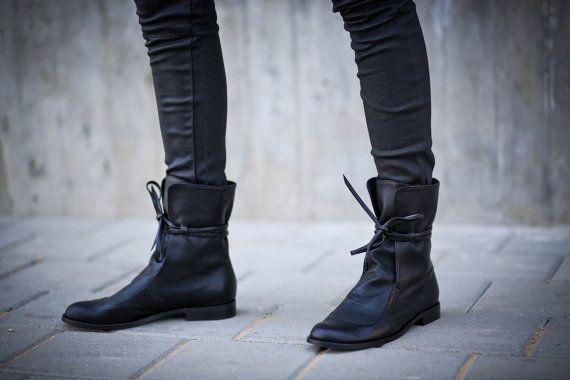 Vendita di 35% stivali neri stivali di pelle morbida di abramey