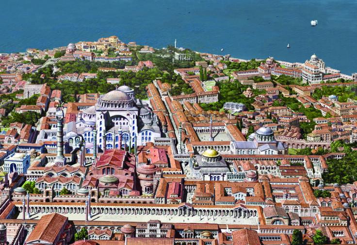 reconstitution de Constantinople avant la prise de la ville par le sOttomans