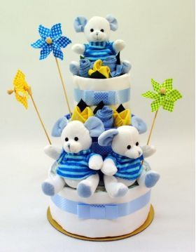 Newborn Nappy Cake Tripplets 3 Little Boy Mice 3 Layer | baby nappy cakes | nappy cakes sydney | nappy cakes australia | nappy cakes melbourne | nappy cakes brisbane | baby shower nappy cakes | baby gifts nappy cakes | Diaper cakes sydney | Dia