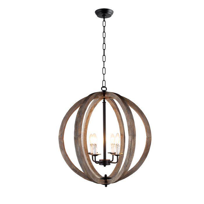 Azriel 4 Light Unique Statement Globe Chandelier Orb Chandelier Globe Chandelier Wood Pendant