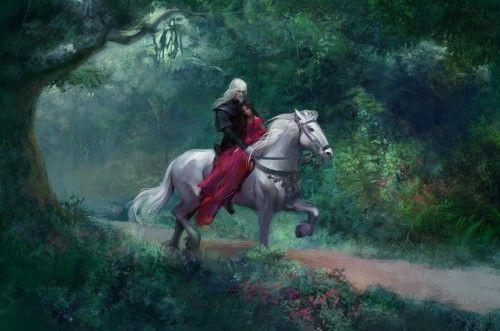 Обои девушка, дерево, лошадь, парень, лес, арт на рабочий стол | 222793