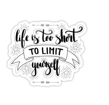 Life is too short to limit yourself.  Inspirationa quote on green background. by Maria-So