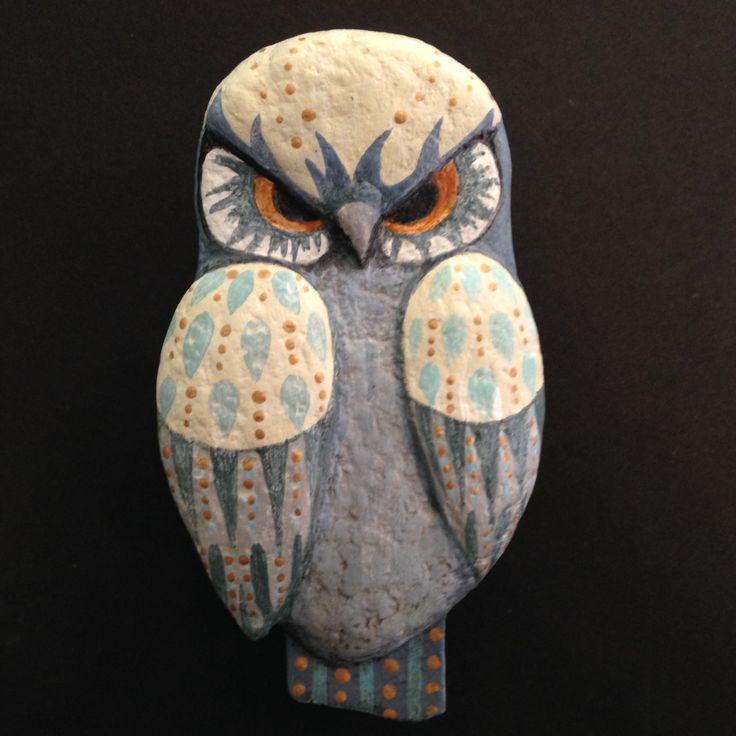 "Grumpy Owl, Ulla Anobile, Paper mache, found wood, acrylics; 5 1/2"" x 3 1/4"" - SOLD"