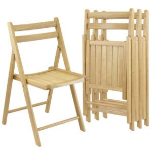 Cream Wooden Folding Chairs